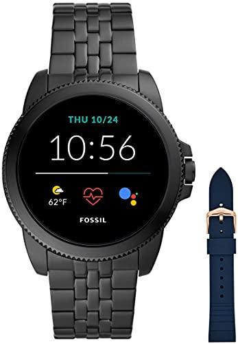 Fossil Connected Smartwatch Gen 5e para Hombre con tecnología Wear OS de Google, frecuencia cardíaca, NFC y notificaciones smartwatch, Acero Inoxidable Negro + Correa de Reloj S181370