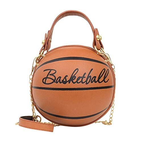 Mdsfe Personality female leather pink basketball bag 2020 new ball purses for teenagers women shoulder bags crossbody chain hand bags - Basketball Brown,a2