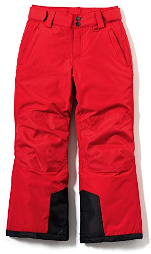 TSLA Youth Cargo Snow Pants Windproof Ski Insulated Water-Repel Rip-Stop Bottoms, Snow Pants(kkb71) - Red, Large (14/16)