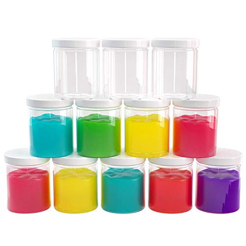 Slime Containers with Water-tight Lids (6 oz, 12 Pack) - Clear Plastic Food Storage Jars - Great for your slime kit - BPA Free