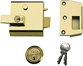 Yale P-1-BLX-PB-60 Double Locking Nightlatch, 60 mm Backset, Brass Finish, High Security, can be Locked from Inside with Key
