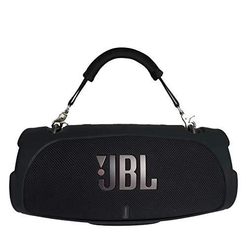 (Nur Silikonhülle) Khanka Silikonhülle + Handgriff Für JBL Xtreme 3 Musikbox portabler Bluetooth Speaker Lautsprecher (Silikonhülle,Schwarz Handgriff)