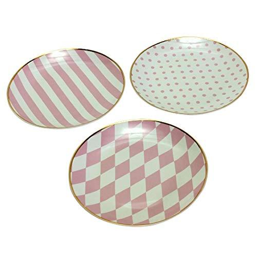3 Porzellanteller 3fach sortiert mit Goldrand Rosa Porzellan Geschenk Präsent Küche Dessertteller Kuchenteller Service Geschirr