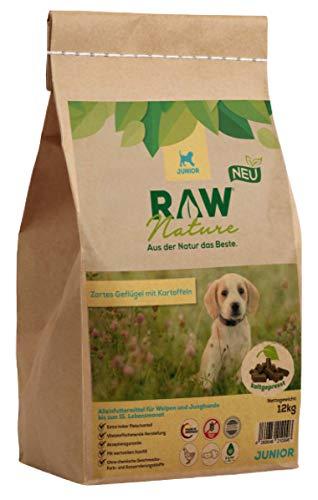 RAW Nature Trockenfutter JUNIOR | Natürlich Kaltgepresst | Getreidefreies Hundefutter | Vollwertkost | hoher Fleischanteil | hochwertiges Muskelfleisch | ohne künstliche Zusätze | Welpenfutter (12 kg)