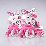 YUANYI Taille Réglable Rollers Quad pour pour Enfants, Femmes Et Hommes Rollers pour Débutants Adolescents Garçons Filles Roue Flash Kit De Protection Rollers Quad,Pink2-XS(25~29
