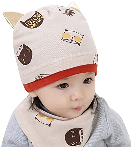 Lindo sombrero y bufanda conjunto algodón niños niño soñador sombrero infantil recién nacido sombrero gato impresión calavera sombrero gorra y cuello baberos baberos bufanda envoltura bebé regalo para