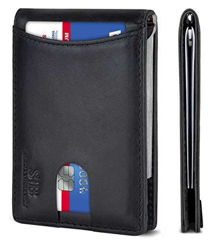 SERMAN BRANDS RFID Blocking Slim Bifold Genuine Leather Minimalist Front Pocket Wallets for Men with Money Clip (Charcoal Black 1.0)