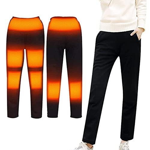 joyvio Pantalones térmicos para Hombres, Mujeres, 5V/ 2A, Pantalones térmicos eléctricos USB, Pantalones Negros de Invierno (batería no incluida), Negro (Color : Black, Size : XL)