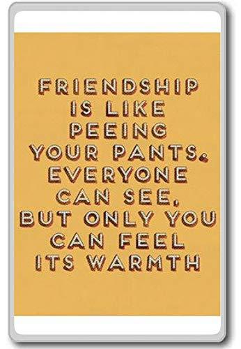 Vriendschap is net als je broek plassen die iedereen kan zien, maar. motivatie citaat koelkast magneet