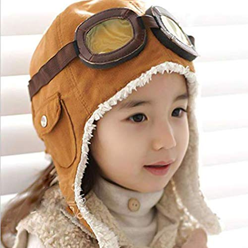 Topwon Pilot Cap Hat Beanie Pilot Aviator Crochet Earflap Hat (Brown)