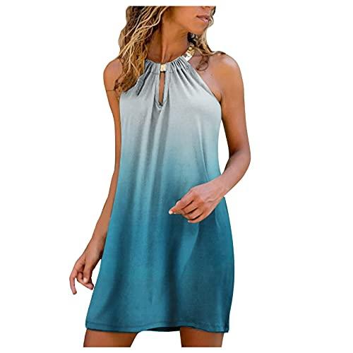 Fufafayo Dress for Women Round Neck Sleeveless Print Dress Mini Short Gradient Metal Halter Neck Ruffled Swing A-Line Dress Blue