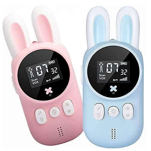 Walkie Talkies Rabbit para niños, Walkie Talkies de larga distancia, alcance de 3 KM, 20 canales, regalos, juguetes con linterna LCD retroiluminada para acampar, aventura, senderismo, juguetes para