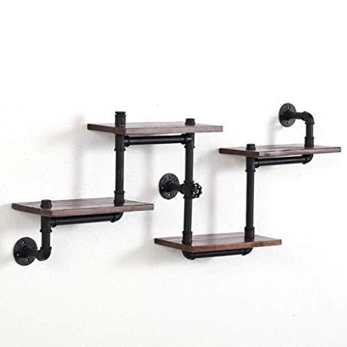 Estantes flotantes, estante colgante, conjunto de 4 estantes de pared de roble de madera flotante en la pared montada en la pared estantes decorativos vintage (color: b) kyman (Color : A)