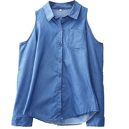 Y2K - Camisa de vaqueros de mujer, moda para mujer, con hombros descubiertos, ropa de verano, E-Girls casual,...