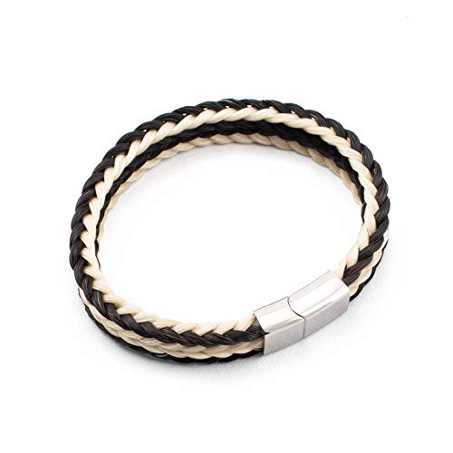 crintiff - Horsehair Bracelet Square Braided for Men and Women - Collection Rodeo - Color Black - Size 7.9/8.3in - Large