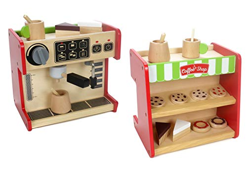 Marionette Wooden Toys Holz Kaufladen und Kaffeemaschine, Kaffeevollautomat mit Drehschalter, Torten, Kuchen, Becher und Kanne mit Rührstab