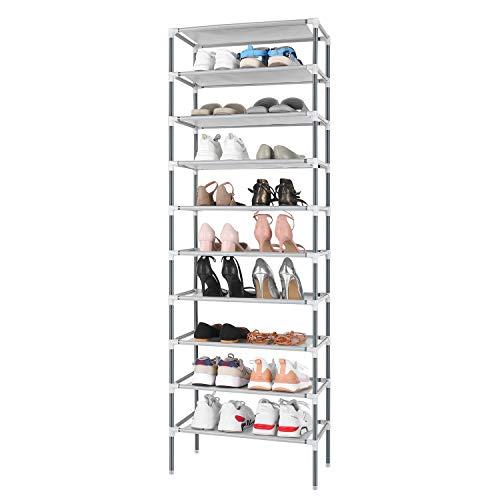 Schuhregal mit 10 Ebenen, Schuhaufbewahrung, Organizer, für bis zu 30 Paar Schuhe, für Wohnzimmer (Grau)