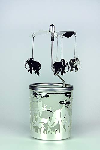 Kerzenfarm Hahn Glaskarussell Teelichthalter Windlicht 84368 Motiv Elefant Größe 16 x 6 x 6 cm Glaskarussel, Glas, Silber, 6 cm