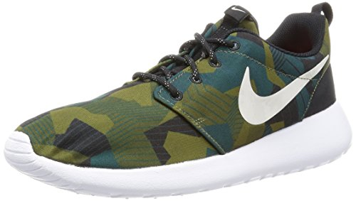 Nike Herren Roshe one Print Laufschuhe, Marrón (Cargo Khaki/Light Bone-White), 44 EU