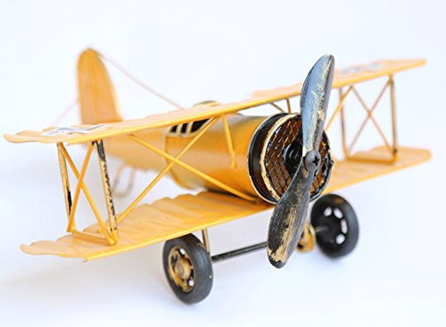 Vintage Retro Iron Aircraft Handicraft - Metal Biplane Plane Aircraft Models -The Best Choice for Photo Props Home Decor/Ornament/Souvenir Study Room Desktop Decoration (Yellow)