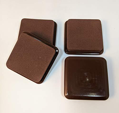 EZ Moves Permanent Furniture Slides for Carpet, Square, Dark Brown (Set of 4)