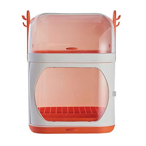LMAMZ Escurridor de Platos Plastico Compacto con Bandeja de Goteo, Porta Cubiertos de Cocina Multifunctional con Tapa Transparente, Estante de Almacenamiento de Vajilla, 2 Niveles,Naranja