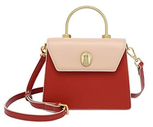 Scarleton Mini Top Handle Satchel Handbag for Women, Vegan Leather 3 Compartment Crossbody Bag, Shoulder Purse, H2077_20840810 Beige/Red