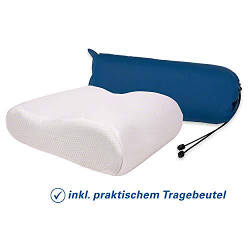 Sport-Tec Viscoline-Reisekopfkissen, Anatomische Form inkl. Beutel, weiß, LxBxH 34x33x13 cm
