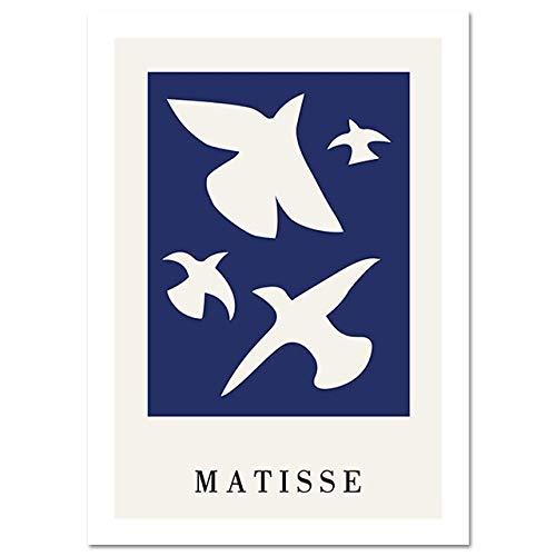 Póster de sueño azul con silueta de Matisse abstracto de estilo moderno, decoración nórdica para el hogar, pintura decorativa sin marco, A 60x80cm