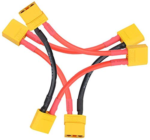 FLY RC 2pcs XT90 Adapter Goldstecker Male Female Lipo Akku Ladekabel Serie Reihe Seriell Kabel Buchse auf 2 Stecker Adapterkabel