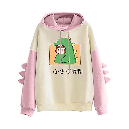 Pianshanzi Hoodies - Sudadera con capucha para adolescentes y niñas con estampado de patchwork, de manga larga, con capucha, C rosa., M