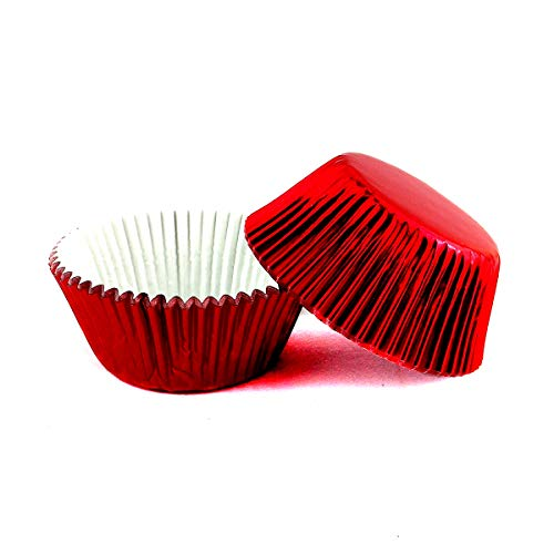 Warmparty Foil Baking Cups Cupcake Liners, Standard Sized, 200 Count (Red)