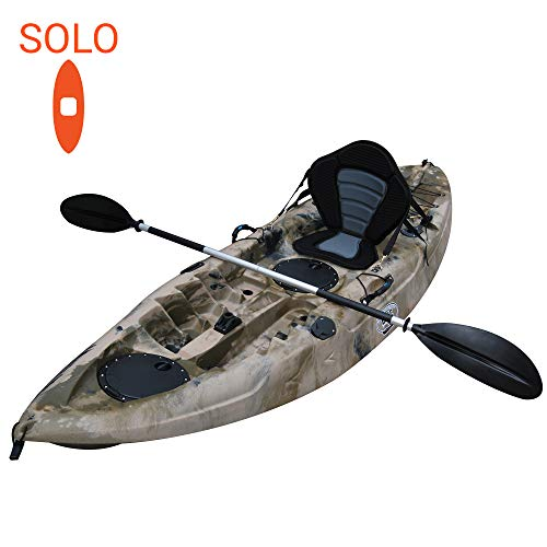 BKC FK184 9' Single Sit On Top Fishing Kayak W/Seat and Paddle Included Solo Sit-On-Top Angler Kayak