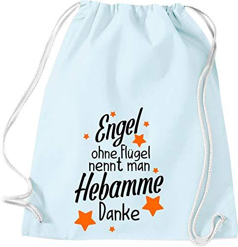 Kleckertegel gymzak spreuken rugzak zak zak stoffen tas gymtas draagtas met opdruk motief engel zonder vleugels noemt men Hebamme Danke