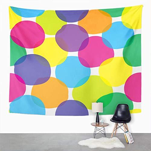 Y·JIANG Tapiz abstracto, colorido multicolor, diseño de lunares brillantes, decoración para el hogar, dormitorio, 203 x 152 cm
