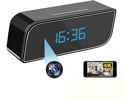 WiFi Mini DV Cámara Espía - 4K HD 1080P Reloj Despertador Grabador de Video Inalámbrico Visión Nocturna Sensor de detección de Movimiento Seguridad para el hogar DVR Monitor de Mascotas Niñera