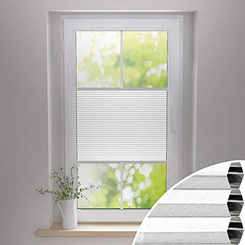 Gardinen21 Thermo Wabenplissee zum Kleben   Waben Plissee im Wunschmaß   Maßgefertigt für Türen & Fenster   Sonnenschutz, Sichtschutz, Schallschutz, 100% Verdunkelung