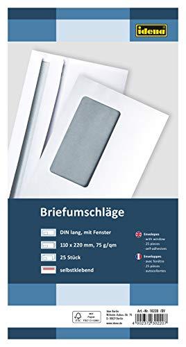 Idena 10220 - Briefumschläge DIN lang, 75 g/m², selbstklebend, mit Fenster, FSC-Mix, weiß, 25 Stück