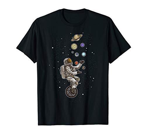 Astronaut jongliert Planeten auf einem Einrad - Raumfahrer T-Shirt