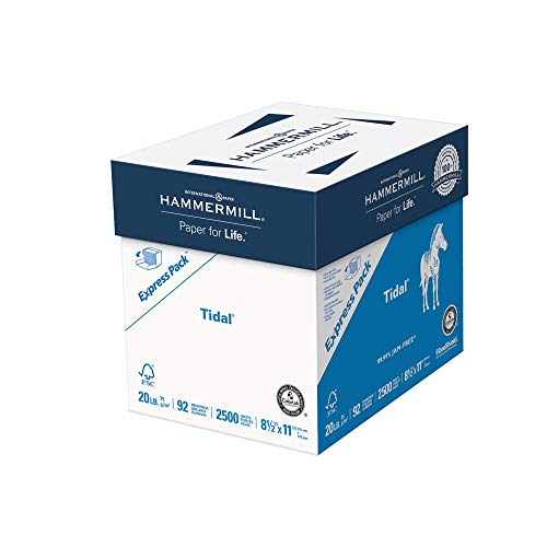 Hammermill Tidal 20lb Copy Paper, 8.5x11, 1 Express Pack, 2500 Sheets, No Ream Wrap, Made in USA,...