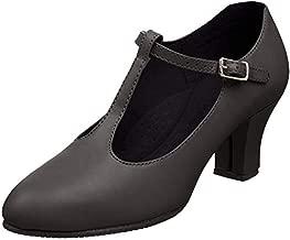 Capezio Women's T-Strap Character Shoe,Black,8 W US