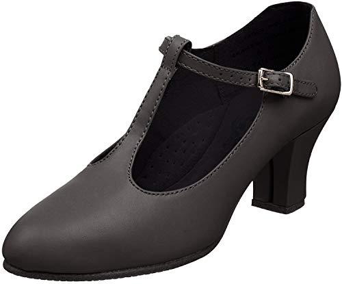 Capezio Women's T-Strap Character Shoe,Black,5 W US
