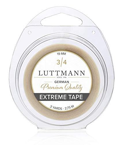LUTTMANN® Extreme Tape - 19 mm Premium Quality extreme Hold Klebeband Kleberolle Lacefront transparent für Haarsysteme, Haarteile, Perücken, Toupets & Extensions