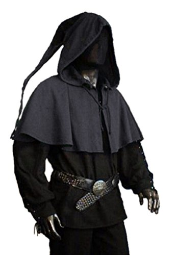 Dark Dreams Gothic Mittelalter LARP Gugel mit Zipfel Askell, Farbe:schwarz, Größe:Freesize