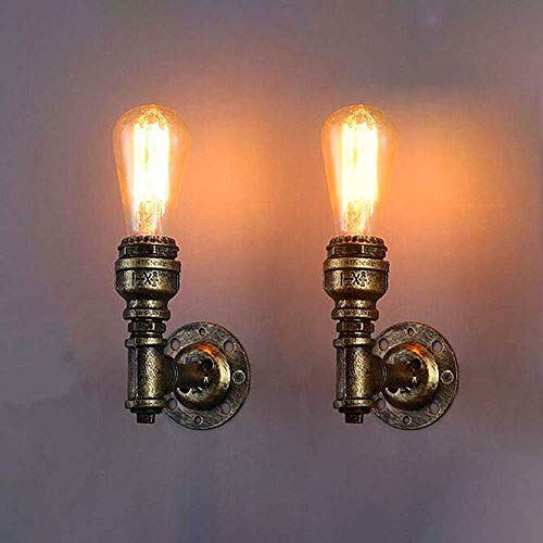 WEM Lámparas de pared, aplique de pared vintage Lámparas de pared industriales, lámpara de pared de tubo de agua de metal retro E27, accesorio de iluminación de pared Nostalgia para sala de estar, do