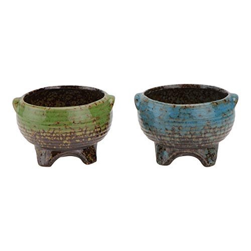 YARNOW 2 Stück Keramische Saftige Pflanzgefäße Bronze Design Chinesische Vintage Kleine Porzellan Blumentöpfe Home Office Tisch Schreibtisch Dekoration