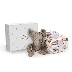 WELLESLEY POOCH 2 Pack Dog, Puppy, Pet Blanket Set with Plush Elephant Squeaky Chew Toy. Cosy White/Brown Paw Print Design. Ideal for Comfort and Warmth, Throw for Your Couch/Sofa or Pup Bed