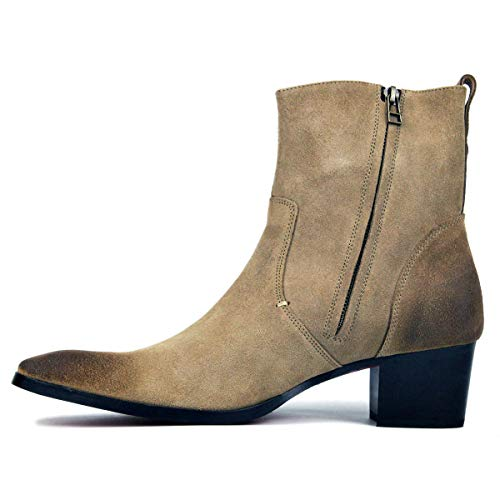 MERRYHE Herren Western Cowboystiefel, Casual Ankle Boots für Herren, Wildleder Mid Boots, Martin Boots, Reitstiefeletten,Beige-41