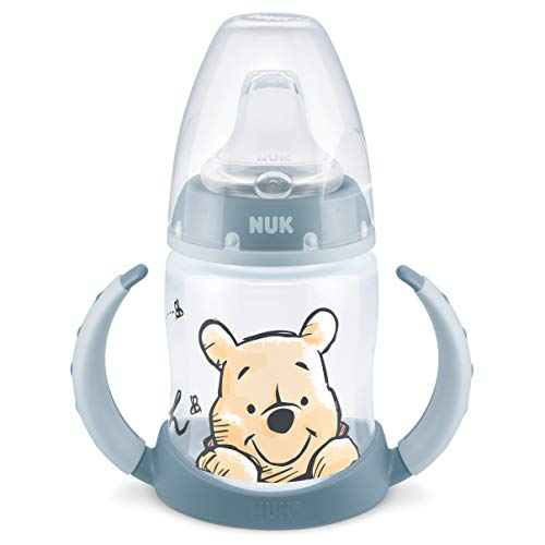 NUK First Choice+, borraccia per imparare a bere, 6 – 18 mesi, beccuccio antigoccia, impugnatura ergonomica, valvola anti-colica, senza BPA, 150 ml, Disney Winnie the Pooh