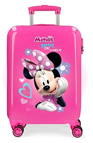 Disney Minnie Fabulous Maleta de Cabina Infantil Rosa 55x38x20 cm | Equipaje de Mano, Trolley de Viaje Ryanair, Easyjet | Maleta de Viaje Fin de Semana Rígida Divertida